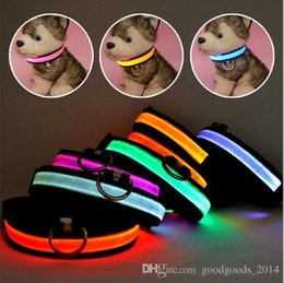 Wholesale Night Light Products - Glow LED Dog Pet Cat Flashing Light Up Nylon Collar Night Safety Collars Supplies Products S M L XL Size b498
