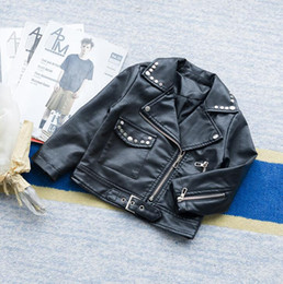 Wholesale Wholesale Leather Jackets Pu - Everweekend Kids Girls Faxu PU Leather Jackets Black Color Zipper Fashion Western Baby Outwears Vintage Children Coats