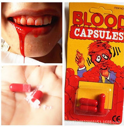 Wholesale Capsule Package - Funny Blood Pill Trick Toys Whimsy Prop Vomiting Blood Capsule April Fool's Day Joke Toys,3 pcs package wd284