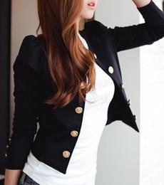 Wholesale Suit Blazer Colour Women - Women Double Breasted T-Shirts Long Sleeve Short Suit Blazer Jackets Coat Outwear black blue 2 colours