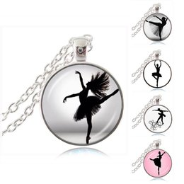 Wholesale Ballerina Jewelry Silver - Dancing Ballerina Dancer Necklace Ballet Dance Girl Photo Pendant Cabochon Dome Fashion Jewelry for Woman Sweater Chain Necklace