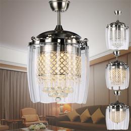 Kristal kanatları ile LED Tavan fan ışıkları kapalı modern minimalist gizleyecek restoran yemek cafe Avizeler Tavan Işık Sarkıt cheap minimalist pendant ceiling lights nereden asgari askılı tavan ışıkları tedarikçiler