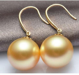 Wholesale south sea dangle pearl earrings - Beautiful 15-16mm Gold South Sea Shell Pearl Earring 14K yellow Golden hook