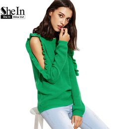 Wholesale Plain Pullover Sweater - Wholesale-SheIn Ladies Plain Green Open Shoulder Ruffle Pullover Sweaters Autumn Womens Round Neck Long Sleeve Loose Pullovers