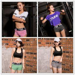 Wholesale Nylon Jogging Pants - Pink Letter Yoga Gym Pants Pink Short Pants Lady Fitness Dance Sexy Shorts Summer Running Beach Shorts Leisure Jogging Shorts CCA7826 50pcs