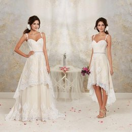 Wholesale Dresses Detachable Skirts - 2017 High Low Short Lace Wedding Dresses with Detachable Skirt A Line Vintage Bridal Gowns Spaghetti Straps Crystal Beaded Sash Custom Made