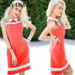 China reizvolle beiläufige sommerkleidung online-Großhandels-Sommer Spitze Splice Büro Kleid Frauen lässig plus Größe Vintage Kleid sexy sleeveless Partei Kleider billige Kleidung China