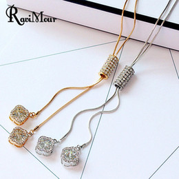 Wholesale Necklace Gold Flower - New Brand Crystal Long Necklace Women Jewelry Fashion Zircon Gold Silver Chain Maxi Necklaces & Pendants Flower Tassel Collares