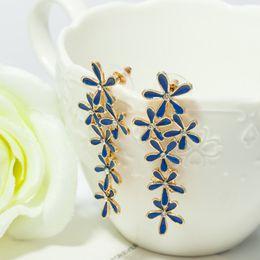 Wholesale earrings snowflake long - Blue Diamond gemstone dangle gold earring fashion jewelry drip snowflake long drop earrings gift for Lover