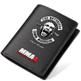Wholesale Interior Art - Conor McGregor wallet Sport purse Mixed Martial Arts short long cash note case Money notecase Leather burse bag Card holders