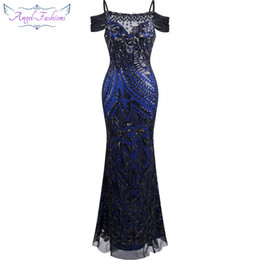 Wholesale Sequin Prom Ball Gown - Angel fashions Women Paillette Spaghetti Strap Beauty Sheath Ball Gown Prom Dresses Formal Dress Black A-220BK