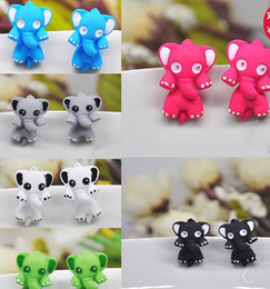 Wholesale Small Stud Earrings Animals - Europe and the United States as a small three-dimensional animal piercing earrings Ear clip Alloy Drip process 10 colors Fashion boutiqu