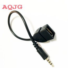 Wholesale Dc Jack Wire - Wholesale- AQJG dc jack to usb 2.0 A female phone power charger adapter cable cord wire Car AUX cable Wholesale USB Female to 3.5mm male