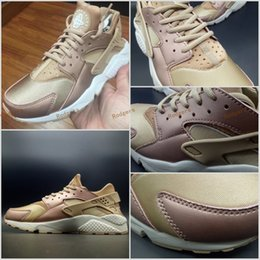 Wholesale Roses Bowl - 2017 Air Huarache Running Shoes For Men Women Rose Gold High Quality Sneakers Triple Huaraches Athletic Trainers huraches Sport Shoes