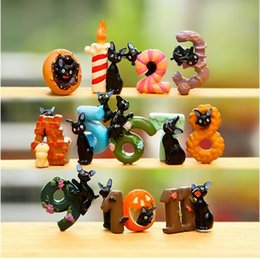 Wholesale Good Baby Child - 12pcs lot DIY Number Cats Action Figure Toys Baby Room Decoration Children Birthday Gifts Christmas Gift for children