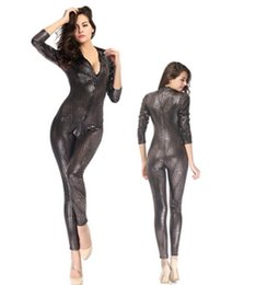 Wholesale Sexy Fishnet Bodysuit - Sexy Women's Patent Leather Long Sleeve Snake Skin Clubwear Overall Pole Dance Bodysuit Jumpsuit