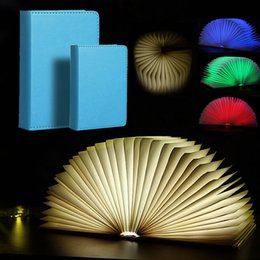 Wholesale Led Big Light Bulbs - Creative Foldable Pages Led Book Shape Night Light Lighting Lamp Portable Booklight Usb Rechargeable (Small   Big size )