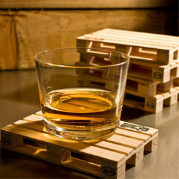 Wholesale Wood Wine Glasses - Wholesale- 4pcs set Rectangle Mini Wooden Pallet Coaster Set Whiskey Wine Glass Cup Mat Pad Hot Cold Drink Wood Table Mat Bar Tool YL878076