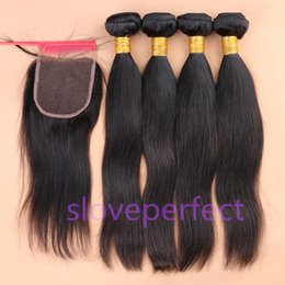 Wholesale Free Black Hair Products - slove Hair Products!Peruvian Human Hair Weft Extension Mix 5pcs lot Silky Straight Hair Weaving Natural Black Fast Free Shipping!!!