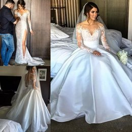 Wholesale Simple Sheath Dresses - Long Sleeve Lace Wedding Dresses With Detachable Skirt Sheath Illusion Back High Slit Overskirts Bridal Wedding Gowns