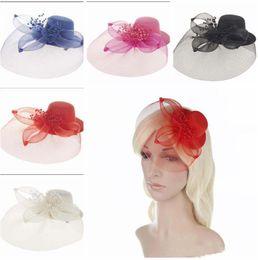 Wholesale Elegant Hair Flowers - new Elegant women Mesh Fascinator Hat hair Clips Wedding Party Women Bridal Hair Accessory