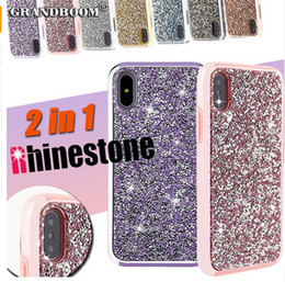 Wholesale Wholesale Champagne Diamonds - Premium bling 2 in 1 Luxury diamond rhinestone glitter back cover phone case For iPhone X 8 7 5 6 6s plus Samsung s8 note 8 cases
