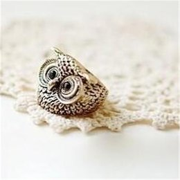 Wholesale Mixed Owl Order - Min.order is $15 (mix order) -European And American Fashion Personality Retro Owl Ring Alloy Ring Factory Direct-j081