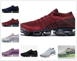 Wholesale Canvas Knitting - 2018 New VaporMax Men Running Shoes For Men Sneakers Knitting Fashion outdoor Trainers Athletic Sport Shoe Wholesale air cushion Size 36-45