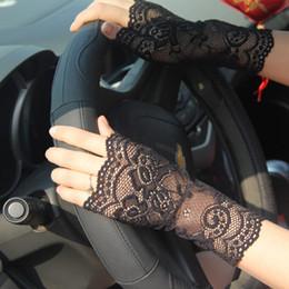 Wholesale Driving Gloves Woman - Fashion Sunscreen Semi-finger Gloves Summer Jacquard Nylon Ladies Anti-UV Driving Lace Floral Semi-finger Gloves