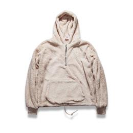 Wholesale Cool Hip Hop Clothes - Wholesale-men's half zipper pullover fleece sherpa hoodie streetwear cool kanye west fashion hip hop urban clothing justin biebers tyga