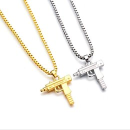 Wholesale Black Charm Necklace - 2017 HOT Hip Hop Necklaces Engraved Gun Shape Uzi Golden Pendant High Quality Necklace Gold Chain Popular Fashion Pendant Jewelry