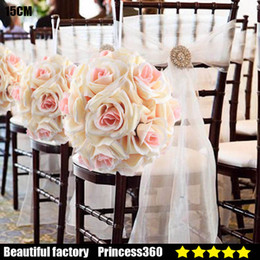 Wholesale Bouquet Chocolates - 15 Colors Becautiful Artificial Silk Flower Rose Balls Wedding Centerpiece Pomander Bouquet Party Decorations Hot sale F01-01