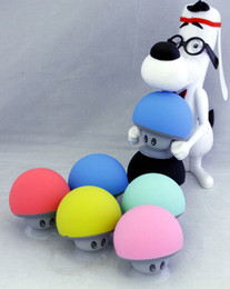 Wholesale Sucker Mini Speaker Wireless - BT280 cute mini mushroom Car speaker subwoofer Bluetooth wireless speaker silicone sucker phone tablet computer stand Free Shipping