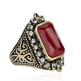 Wholesale Gem Square Ring - Retro Resin Imitation black agate jade Gem macrame lacework lace ring edge Studded with full of rhinestone ring men big square rings j392
