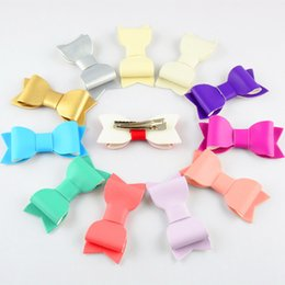 Wholesale synthetic hair bow clip - free shipping New 12Colors PU Leather Barrettes 30pcs lot Synthetic Leather Bow Hair Clips Baby Girls Felt Bowknot Baby Hairpins H0220