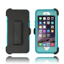 Wholesale Iphone Cases Holster - Hybrid defender silicone case for Iphone 6s 7 plus built-in screen protector cover holster belt clip for Samsung Galaxy S6 S7 edge S8 plus