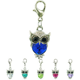 Wholesale plastic pendant charms - Fashion Animals Floating Charm With Lobster Clasp Dangle Plastics Crystal Owl Pendants DIY Charms For Jewelry Making Accessories