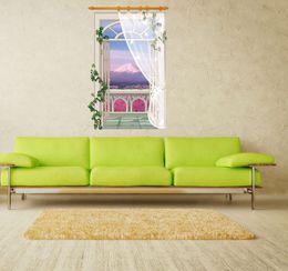 Vinile a parete della vite online-SK9022B Vinyl Decals 3D Finto Window Lavanda Sticker Sfondo Vine Flower Wall Sticker Murale Home Decor