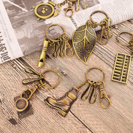 Wholesale Mix Record - Exquisite mini bronze stainless steel key ring personalized creative retro key chain pendant KR031 Keychains mix order 20 pieces a lot