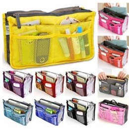 Wholesale Women Makeup - 13 Colors Dual Bag In Bag Women Insert Handbag Organizer Purse Makeup Case Storage Liner Bag Tidy Travel Insert Storage Bags CCA6643 30pcs