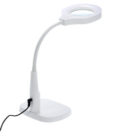 Wholesale Hands Free Lighted Magnifying Glass - Freeshipping Hands-free Loupe Flexible Magnifying Glass with Light Versatile 2 in 1 Lighted Magnifier Desk Lamp with Clamp and Base Holder