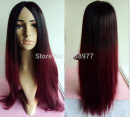 Wholesale Hair Styling Mannequins - Mannequin Head Hair Heat Resistant with Hair Mannequin Head Training Heads Hair Styling gradient color red black wine   70cm