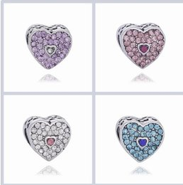 Wholesale pink cz necklaces - Fit Pandora Charm Bracelet Love Heart Shape CZ Crystal European Silver Bead Charms Beads DIY Snake Chain For Women Bangle & Necklace Jewelry