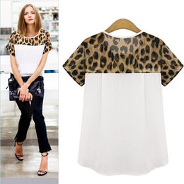 Wholesale Sexy Leopard Print - Wholesale- Women T-Shirts Chiffon Leopard Printing Round Neck girl shirts Tops Sexy Cropped T-shirt Short Sleeve female clothing plus size