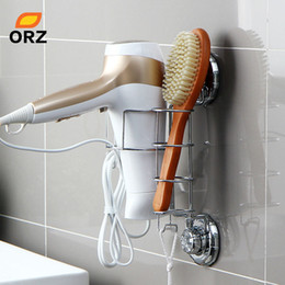 Wholesale Hair Suction - Hair Dryer Holder Comb Straightener Curling Basket Bathroom Storage Rack Wall Suction Cup Stand Shelf Organizer