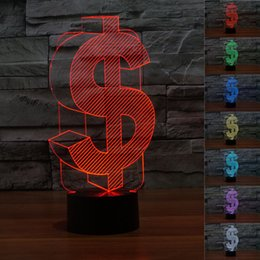 Wholesale Led Novelty Lamp Changes Colors - 2pc Novelty 3D Dollar Night Light Touch Button Colors Change LEDTable Lamp Gift Mix Order Custom Any LED Light Basketball College Light A03