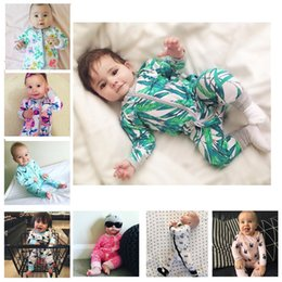 Wholesale Boys Size 16 - Baby rompers Boy girl jumpsuits flowers Long sleeves zipper baby clothing Toddler print INS romper 16 colors C2196