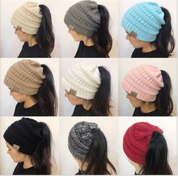 Wholesale Pony Fashion - Women CC Ponytail Caps CC Knitted Beanie Fashion Girls Winter Warm Hat Back Hole Pony Tail Autumn Casual Beanies