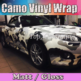 Wholesale Bubbled Wrap Film - Arctic WHITE BLACK GRAY Snow Camouflage wrap Film Camo Wrapping Vinyl Foil With Bubble Free Truck Body foil Sticker size 1.52x30m Roll