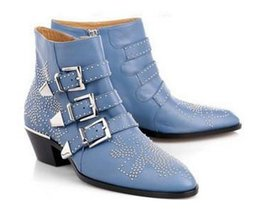 Wholesale Ankle Booties Thick Heels - New Fashion Leather Rivets Booties Buckle Straps Thick Heel Black Ankle Boots Studded Decorated Motorcycle Boots
